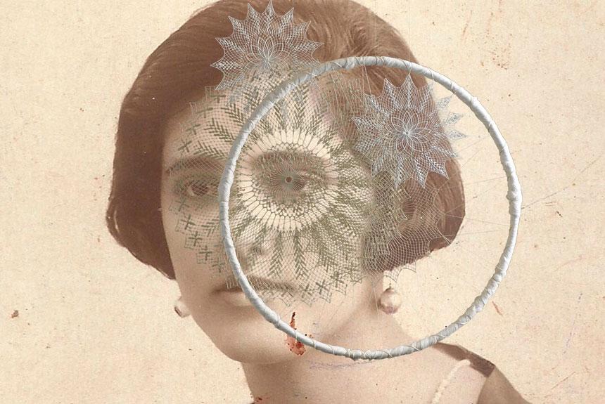 Textil sobre fotografía antigua de mujer