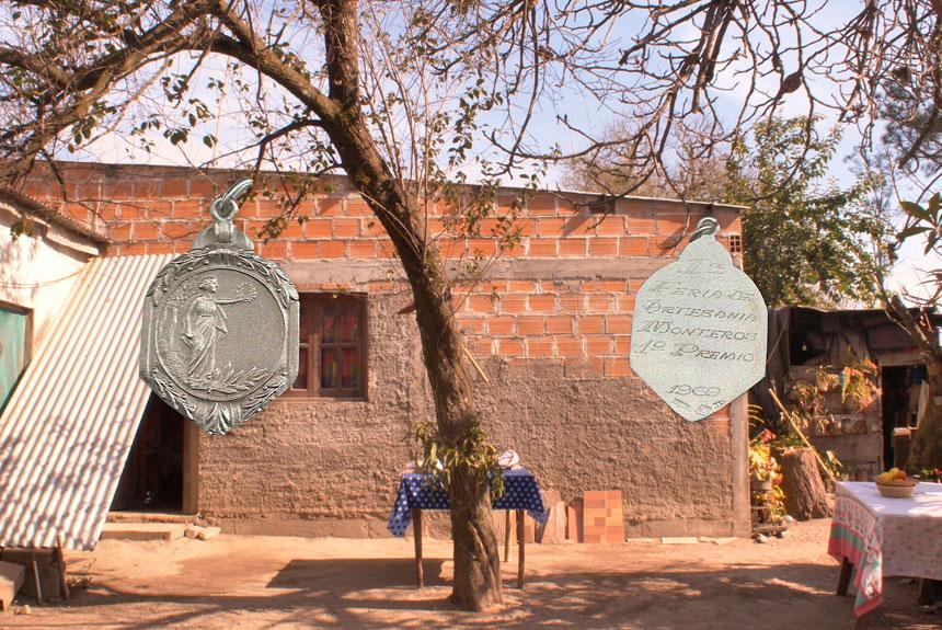 Medallas de plata sobre fotografía de una casa y un árbol