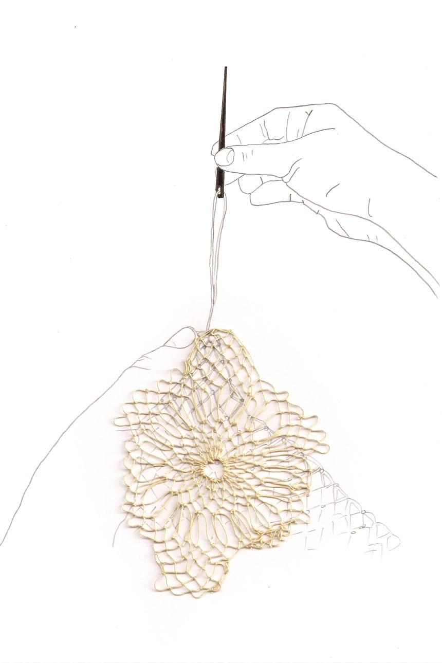Dibujo de manos tejiendo un textil