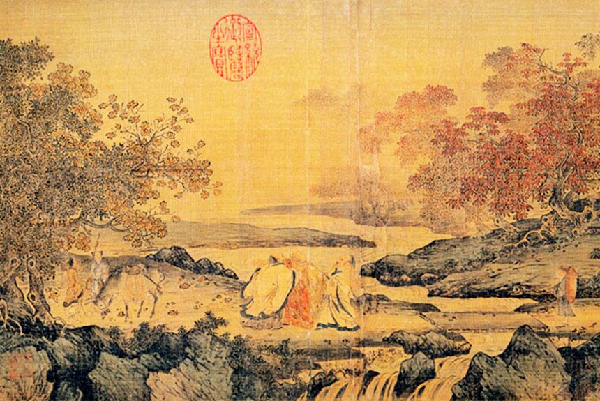Obra que representa a Buddha, Confucio y Laozi