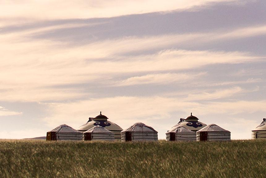 Paisaje de Mongolia-Yurtas